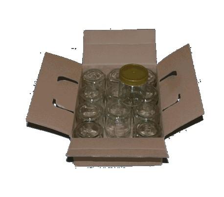 Glas 450 g - runde m. plastlåg