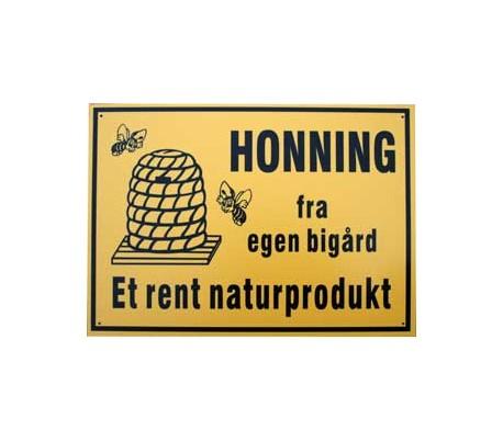 Reklameskilt honning sælges 35 x 25 cm. i hård plast-kbh-kobenhavn-sjaelland-pris
