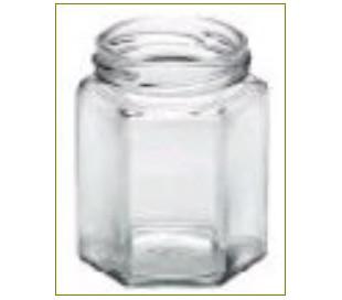 Glas, 6 kantet, 250 g m. metallåg