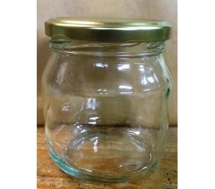 24 stk. Glas, rundt 700 g, m. metal guld låg (pvc frit)